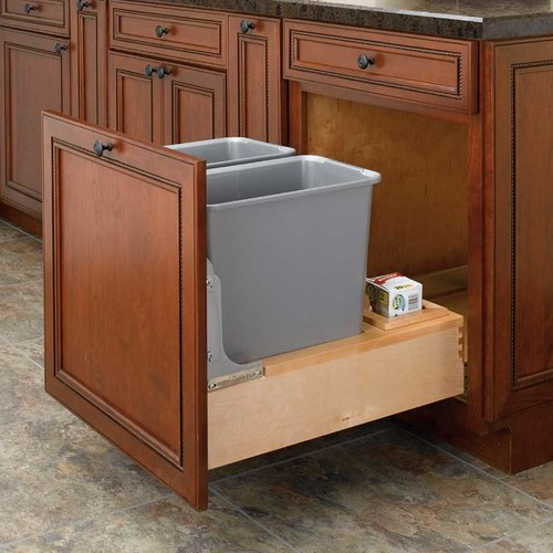 Rev-A-Shelf Double Trash Pullout 30 Quart-Wood 4WCBM-2430DM-2