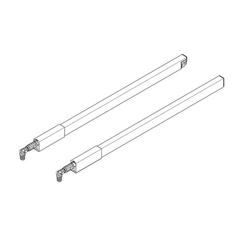 Blum Tandembox 22 inch Top Gallery Rod Set Gray (Left and Right) ZRG.487RSIC