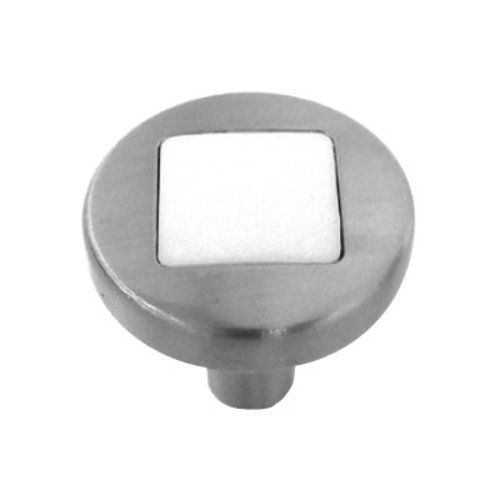 Loft 1 Inch Diameter Satin Nickel With White Matte Cabinet Knob <small>(#P3440-SNWM)</small>