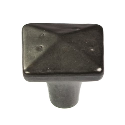 "Hickory Hardware Carbonite Square Knob 1-1/4"" Dia Black Iron P3670-BI"