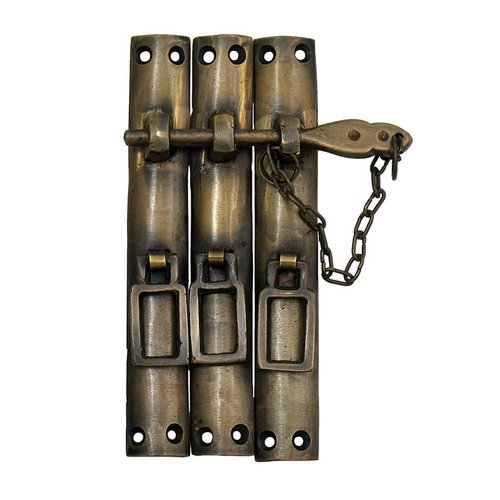 "Large Three-Piece Lock with Chain 5-1/2"" W - Antique Brass <small>(#HLA7016)</small>"