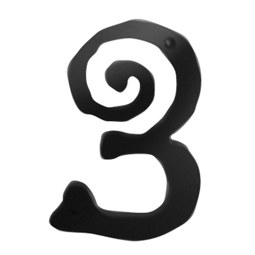 Large Scroll House Number Three Matte Black <small>(#SCN3L-BL)</small>