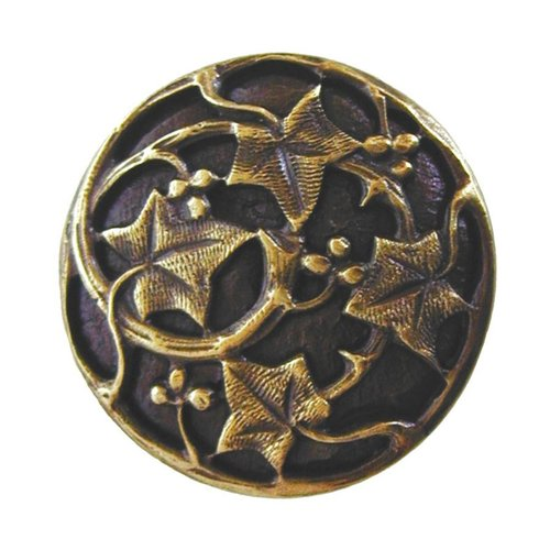 Notting Hill Leaves 1-1/8 Inch Diameter Antique Brass Cabinet Knob NHK-105-AB