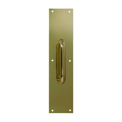 Don-Jo 4 inch x 16 inch Pull Plate with 9 inch Pull Polished Brass 7119-605