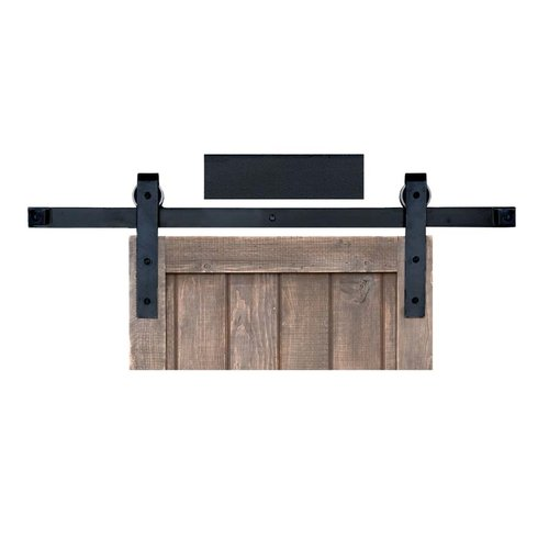 Basic Barn Door Rolling Hardware & 8' Track Smooth Iron <small>(#BH1BI-8)</small>