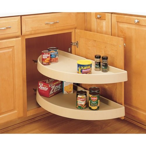 Rev-A-Shelf 31 Inch Half Moon Pivot Only Two-Tier Polymer Lazy Susan - Almond 6842-31-15-570