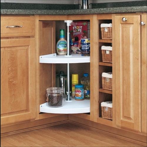 Rev-A-Shelf 28 Inch Pie-Cut Two Shelf Polymer Lazy Susan - White 6942-28-11-52