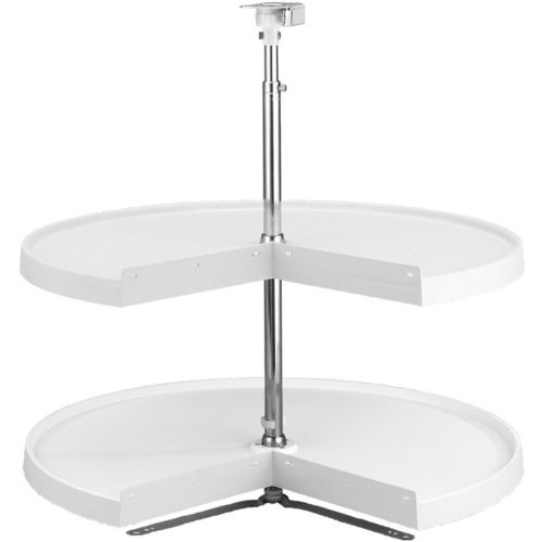 24 Inch Pie-Cut Two Shelf Polymer Lazy Susan - White <small>(#6942-24-11-52)</small>