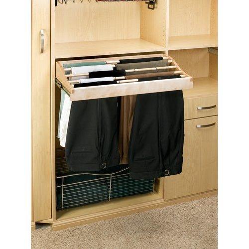 Rev A Shelf 30 Inch Pants Rack Organizer Natural Wood