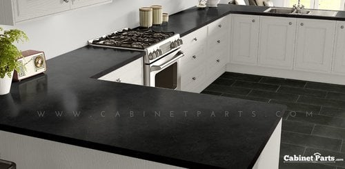 Wilsonart Black Alicante Textured Gloss Finish 5 ft. x 12 ft. Countertop Grade Laminate Sheet 4926K-07-350-60X144